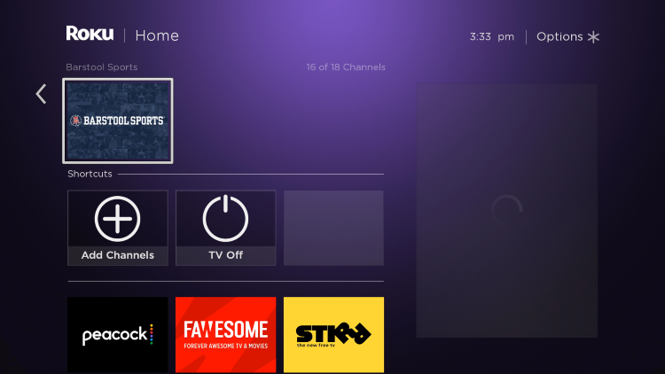 Return back to your Roku home screen and locate Barstool within your channel list