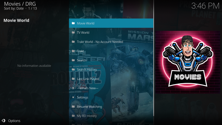That's it! You have successfully installed the DRG Kodi Addon