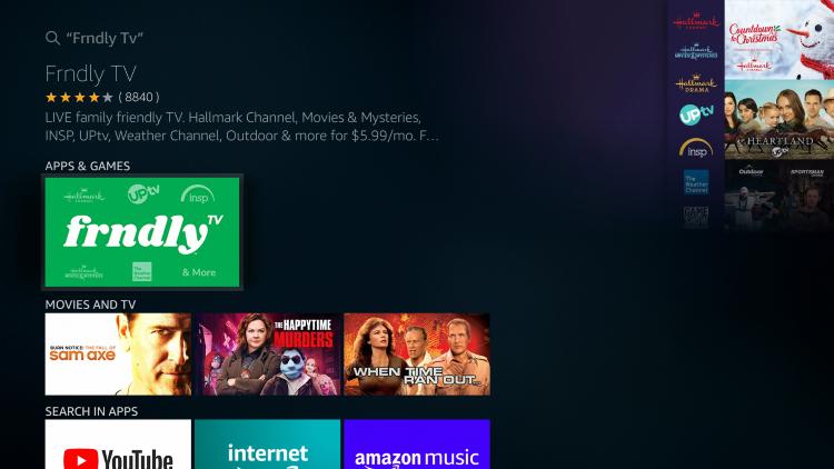 Click the Frndly TV app under Apps & Games