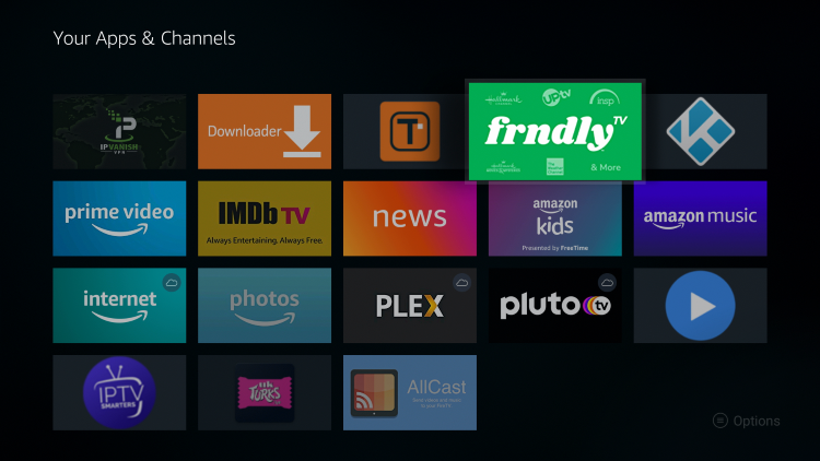 Place the Frndly TV app wherever you prefer and click the OK button.
