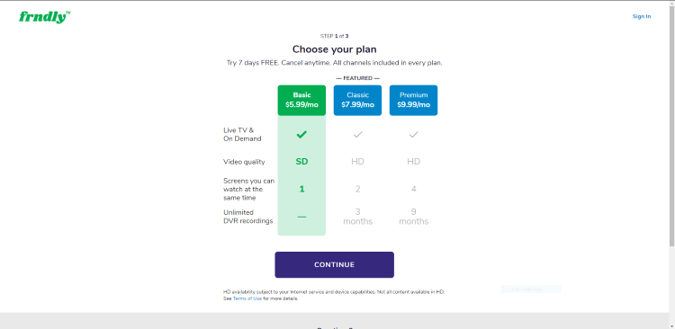 Next, choose your plan. For this example, we chose the basic Basic plan on the left. Click Continue.