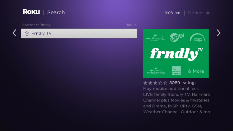 Scroll to the right and select Frndly TV