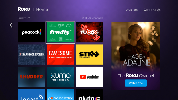 Move the Frndly TV app wherever you prefer on your Roku channels list