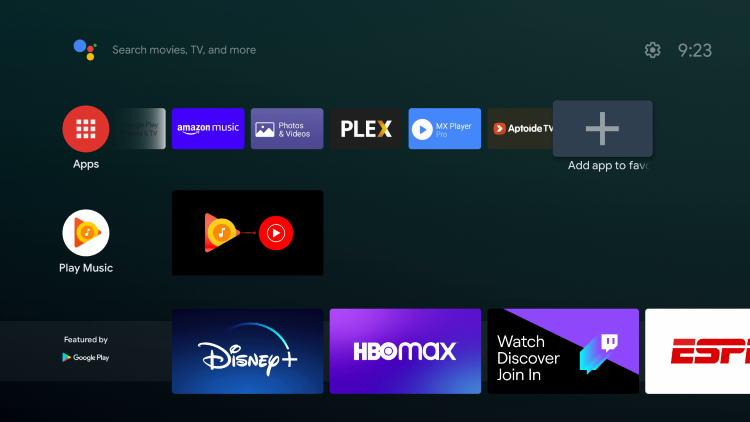 Click the plus icon (+) to add HBO Max to your Favorites