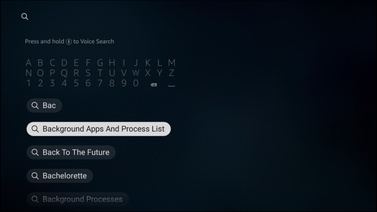 select background apps and process list