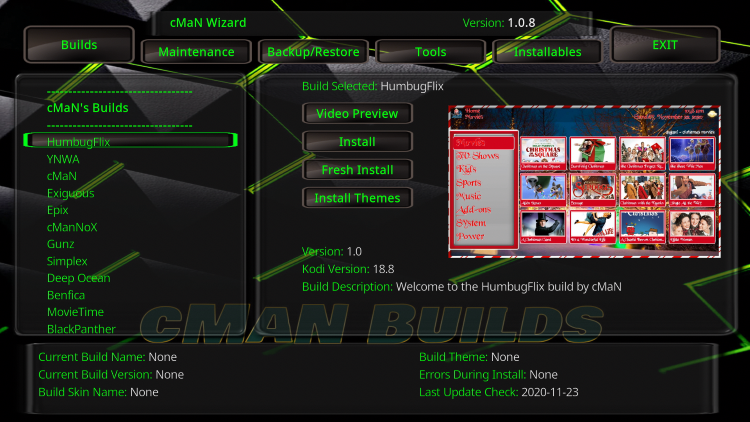 humbug flix kodi build cman wizard