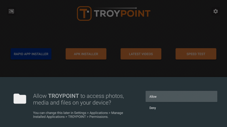 Once you have the Rapid App Installer on your device, launch the TROYPOINT App and click Allow.