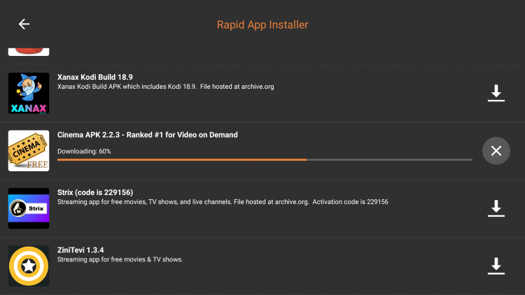 Wait a few seconds for the APK file to download.