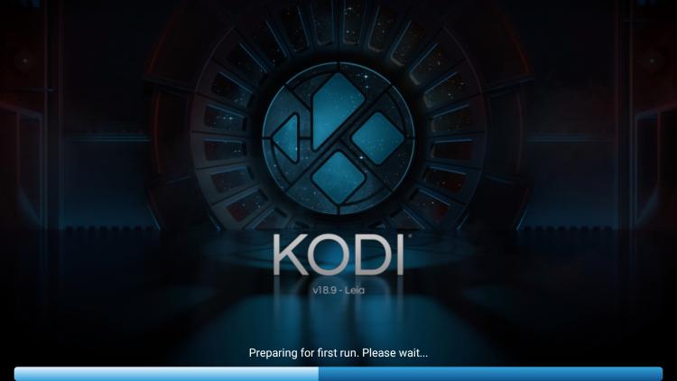 kodi begins to load