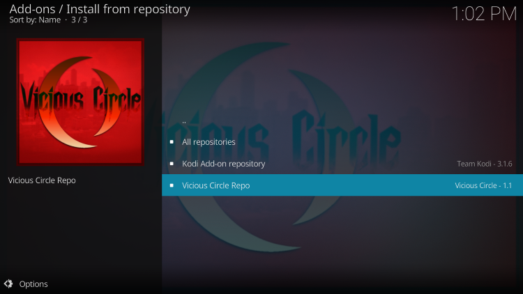 choose vicious circle repo