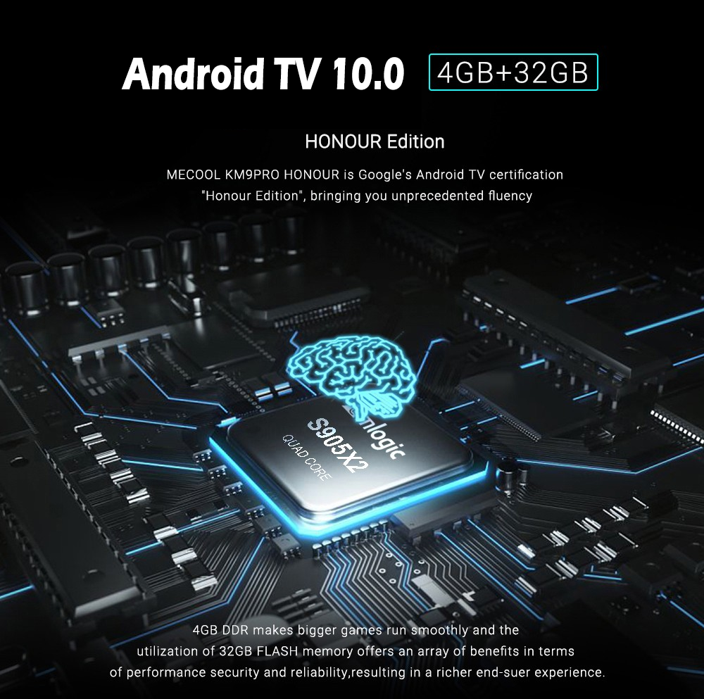 MECOOL KM9 Pro Honour running Android TV 10