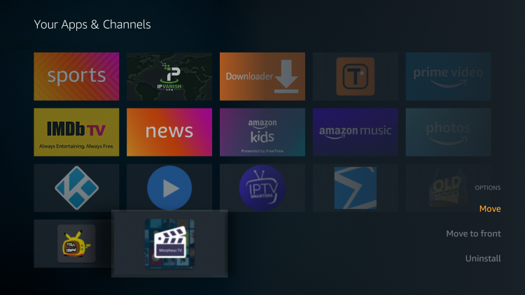 Scroll down to hover over Morpheus TV and click the Options button (3 horizontal lines). Then click Move