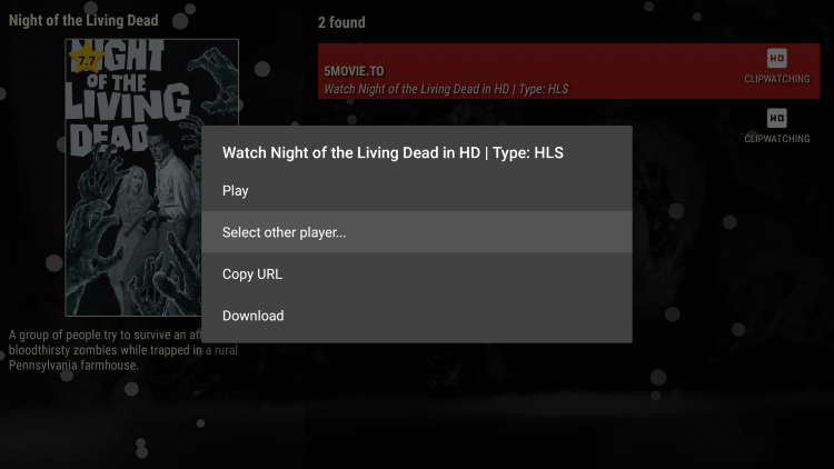 Choose any streaming link then when this box appears click Select other player.