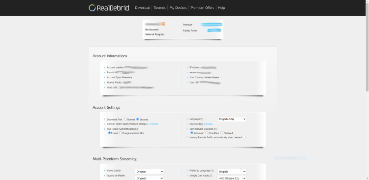 Visit your Real-Debrid account dashboard
