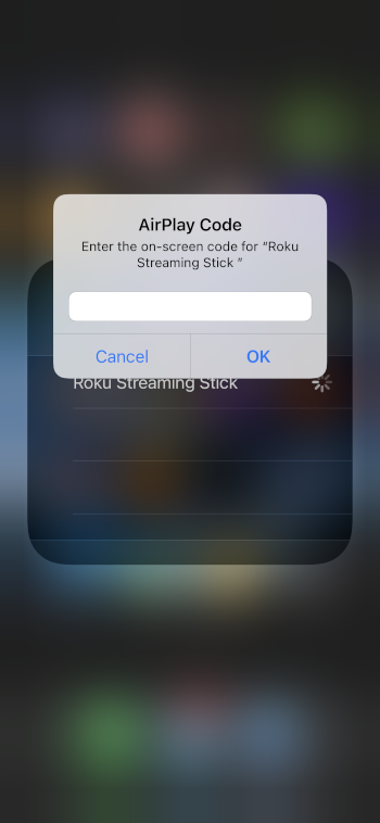 enter airplay passcode and click ok