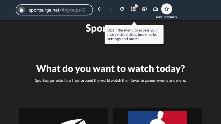 """If you want to bookmark the Sportsurge website, click the star icon that says """"Add Bookmark."""""""
