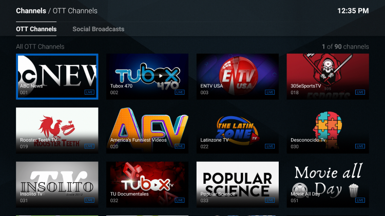 You will notice the various OTT Channels available for free.
