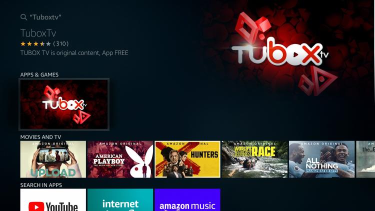 Choose TuboxTV under Apps & Games