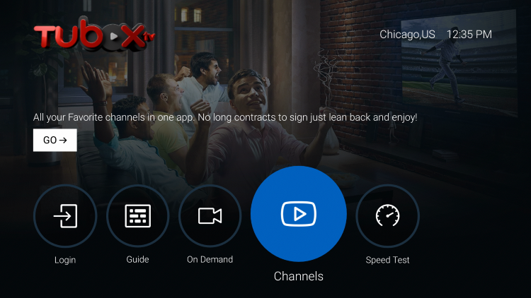You will notice the different options on the main screen. We suggest clicking Channels, Guide, or On Demand.