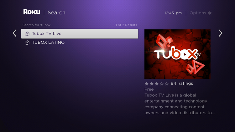 Click the first option for Tubox TV