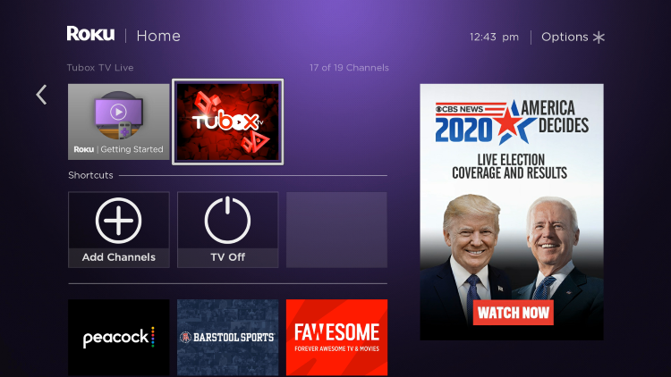 Return to the home screen and locate Tubox TV