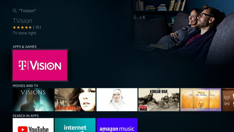 Choose TVision under Apps & Games
