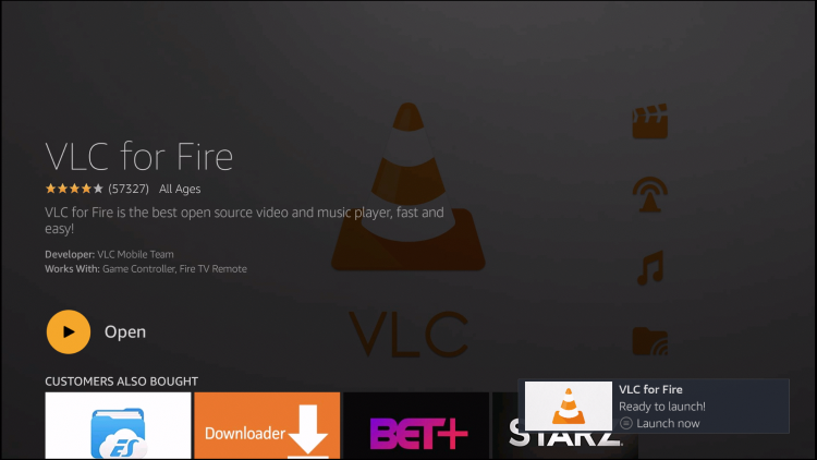 vlc for fire installed message