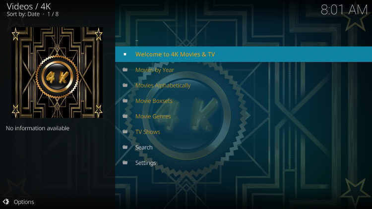 That's it! You have successfully installed the 4K Kodi Addon