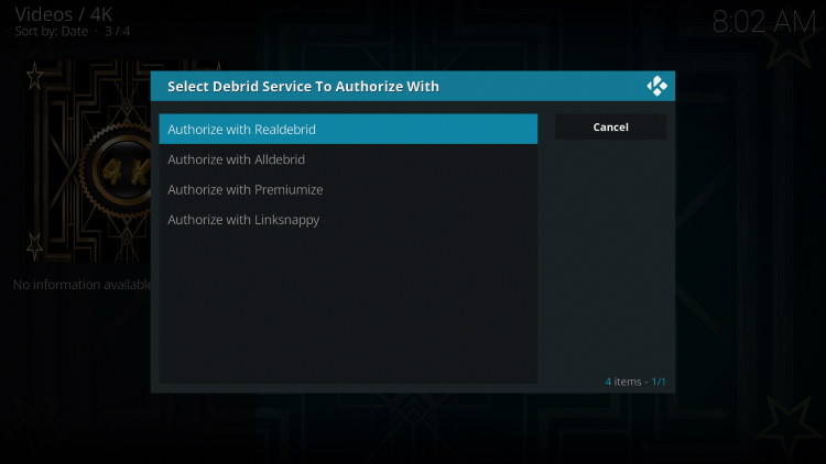 Select Authorize with Real Debrid.