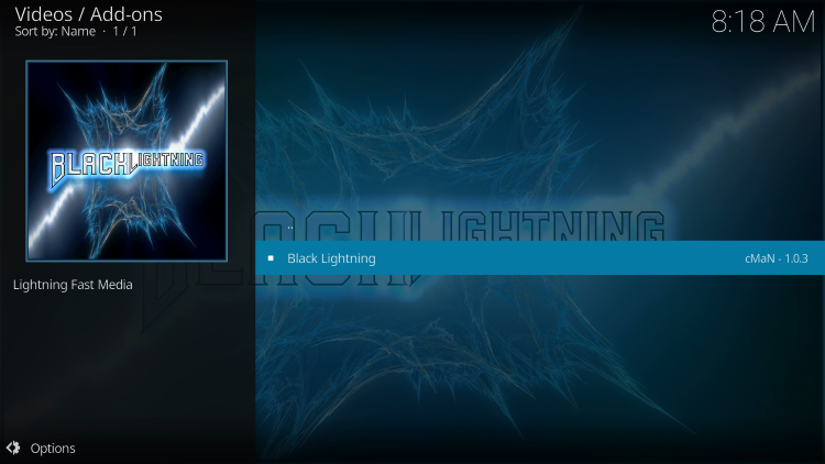 Then click Black Lightning