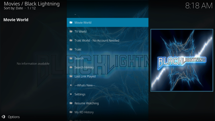 black lightning kodi addon categories