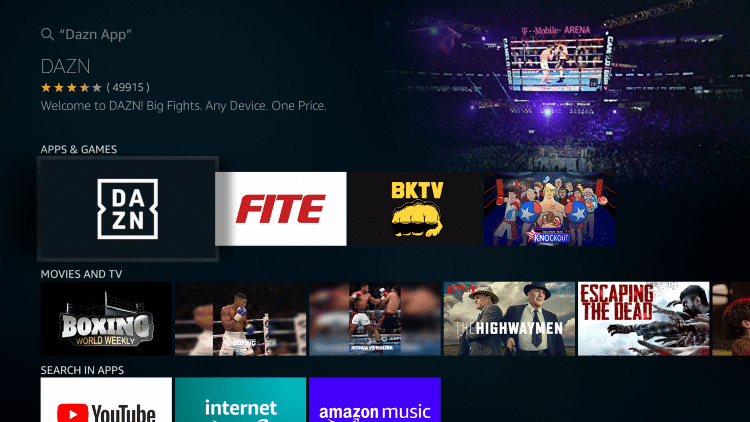 Select the DAZN App under Apps & Games