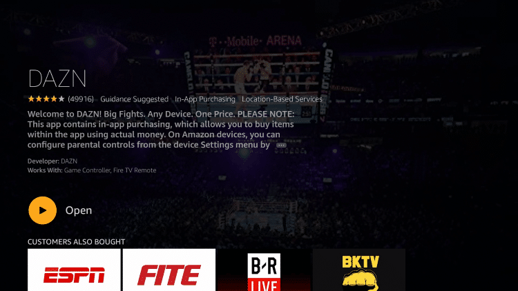 After installation, you can choose to open the DAZN app. But for this example, we suggest holding down the home button on your remote