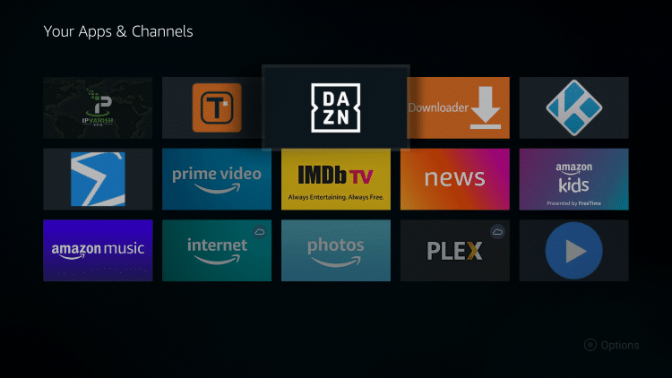 Place the DAZN app within your Apps & Channels wherever you prefer