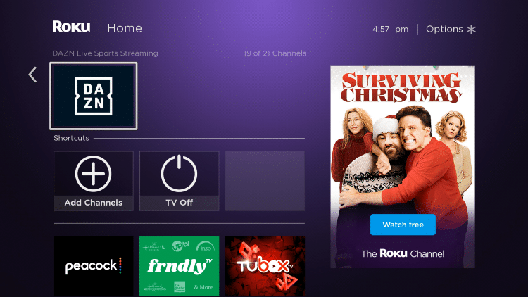 Return back to your Roku home screen and locate DAZN within your channel list