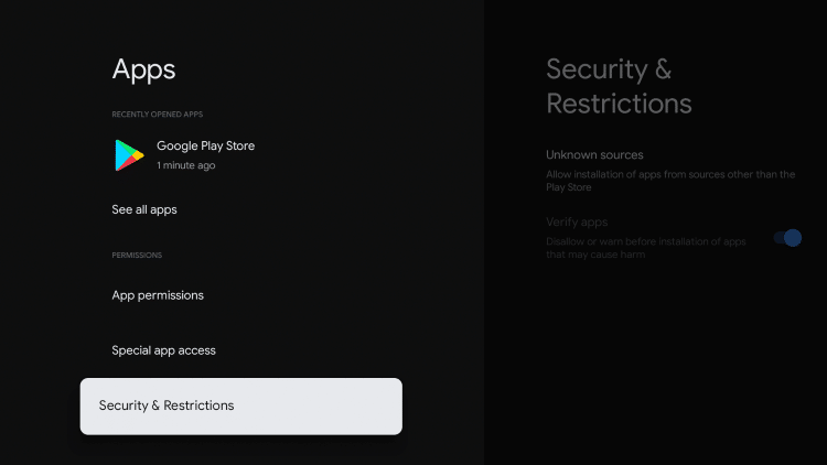 Click Security & Restrictions.