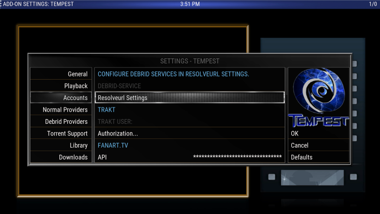 Within the Accounts menu on the left, select Resolveurl Settings.