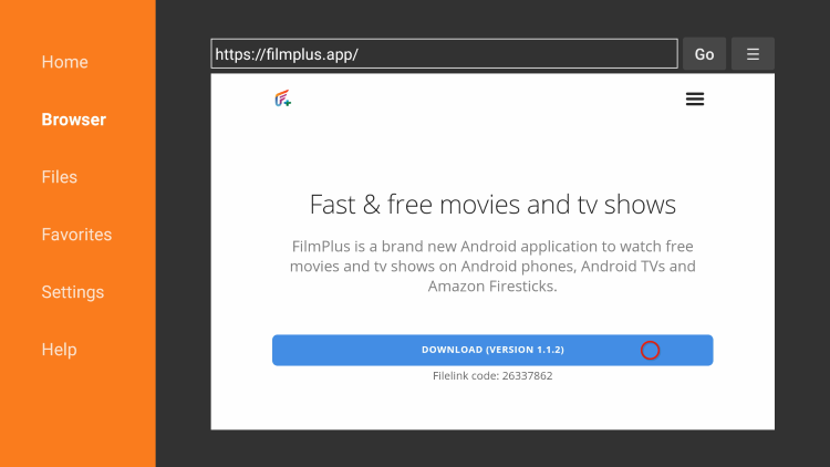 Scroll down and click Download filmplus apk