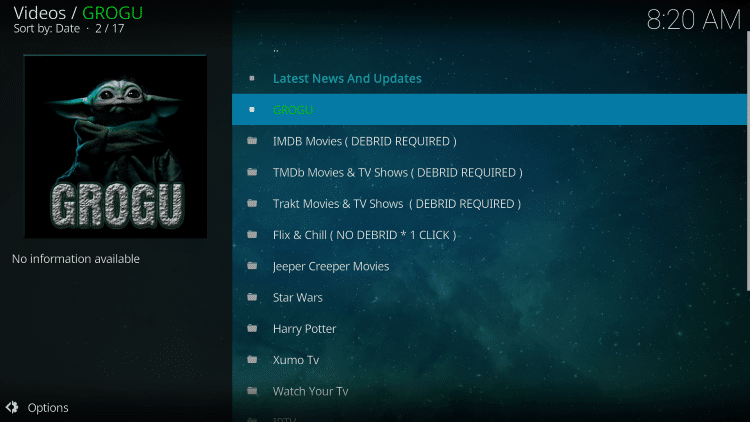 That's it! You have successfully installed the Grogu Kodi Addon