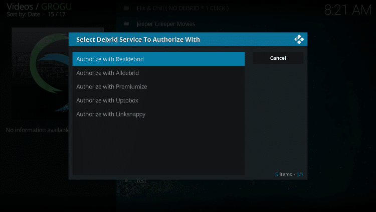 For those using Real-Debrid choose Authorize with Realdebrid.