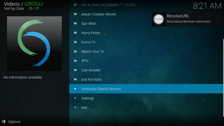 That's it! You should notice an OK message in the top right after integrating Real-Debrid within the Grogu Kodi Addon.