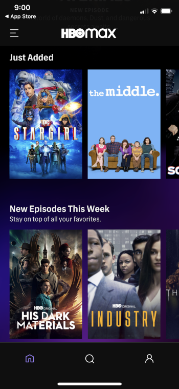 you will now encounter hbo max home screen
