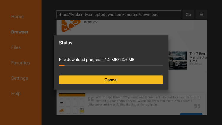 Wait for the file download to finish.