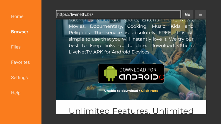 Scroll down and click Download for Android.