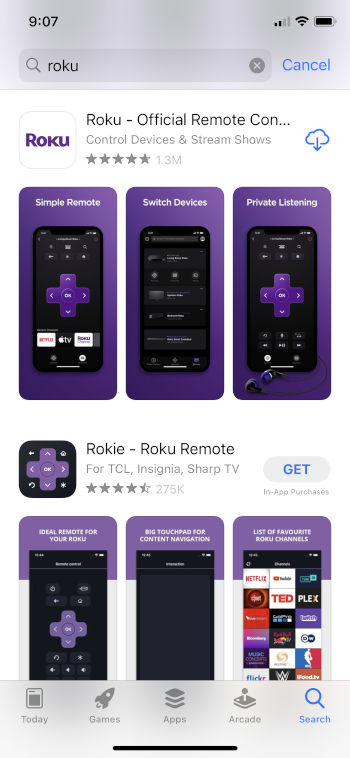 find roku official app and click to install
