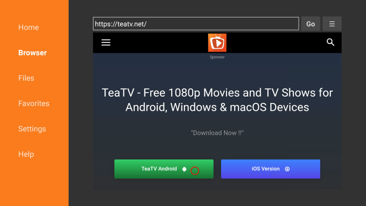 Scroll down and click TeaTV Android to download the APK