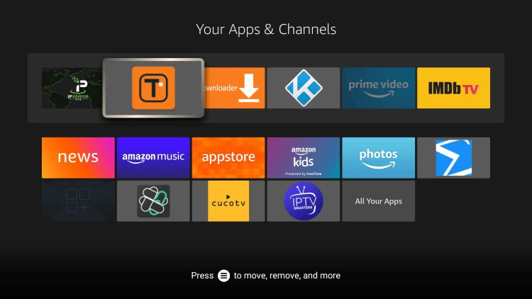 From here you can move the app wherever you prefer by using the arrows on your Firestick Remote.