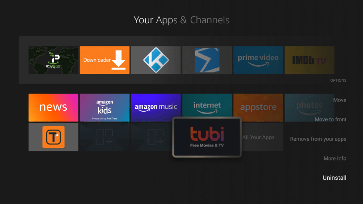 Scroll down and choose Uninstall for the app you want to delete from firestick