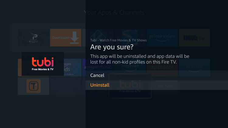 Click Uninstall again to delete apps on your firestick
