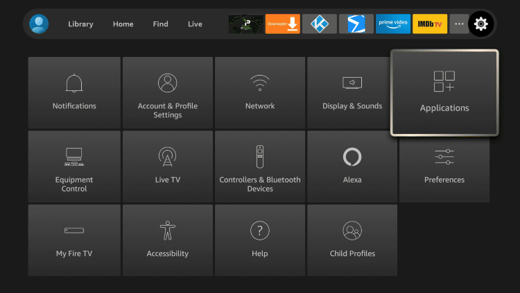 Hover over the Settings icon and select Applications.